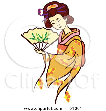 Royalty-Free (RF) Clipart Illustration of a Pretty Geisha Woman - Version 2 by Cherie Reve