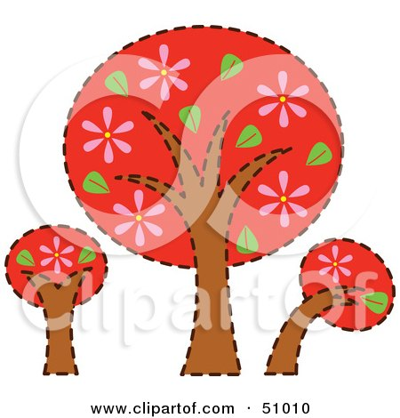 Royalty-Free (RF) Clipart Illustration of Three Red Trees With Pink Flowers by Cherie Reve