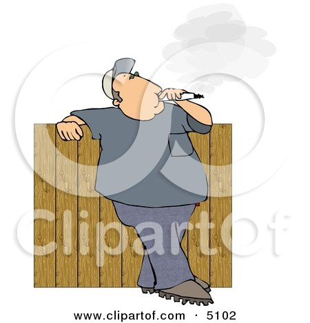 Man Smoking A Big Cigarette In His Backyard Against A Fence Clipart