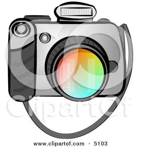 Digital SLR Camera with Flash Clipart by djart