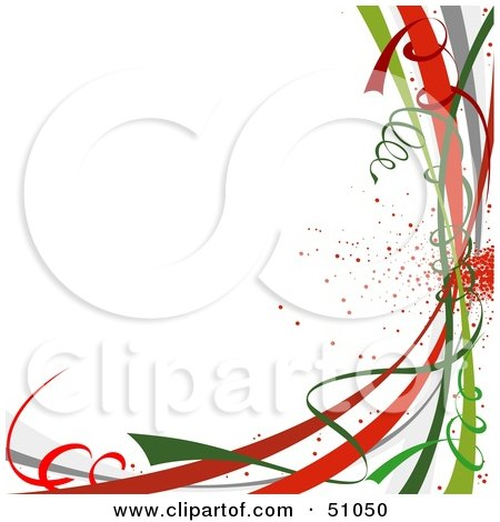 Clipart Illustration of a Colorful New Year Or Christmas Ribbons On White by dero