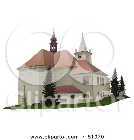 Royalty-Free (RF) Clipart Illustration of a Church Exterior - Version 1 by dero