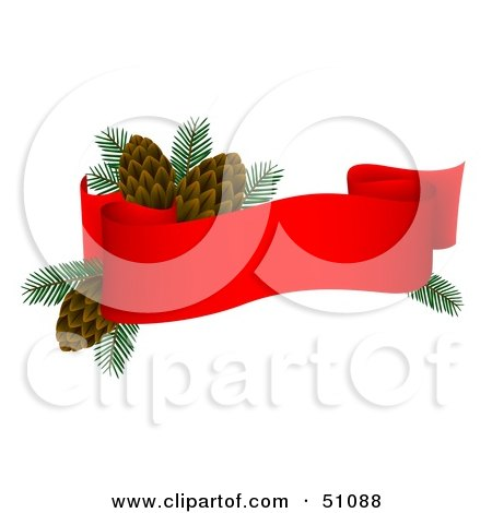 Clipart Illustration of a Banner With Pine Cones by dero