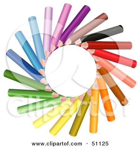 Royalty-Free (RF) Clipart Illustration of a Sun Made of Colored Pencils by dero