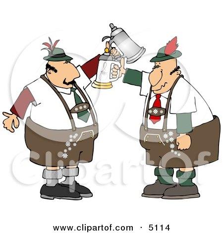 Two German Men with Beer Steins Celebrating Oktoberfest Clipart by djart