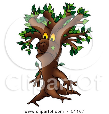 Royalty-Free (RF) Clipart Illustration of a Yellow Eyed Ent Tree - Version 3 by dero