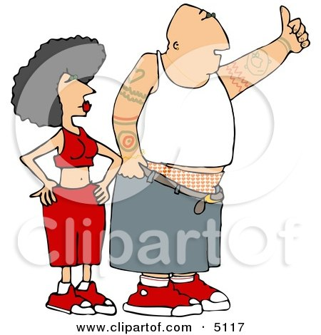 Gangster Man and Woman Hitchhiking Clipart by djart