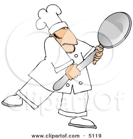 Caucasian Male Chef Carrying a Big Spoon Clipart by djart