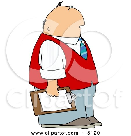 Caucasian Male Store Manager Holding a Clipboard Clipart by djart