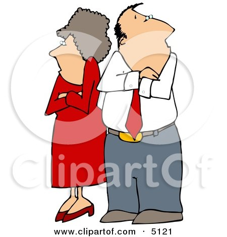 Fighting Couple Husband And Wife Standing With Arms Crossed Clipart