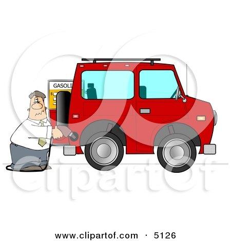 Man Filling His Car Up with Gas Clipart by djart