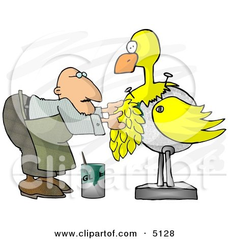 Male Taxidermist Working On a Big Yellow Bird Clipart by djart