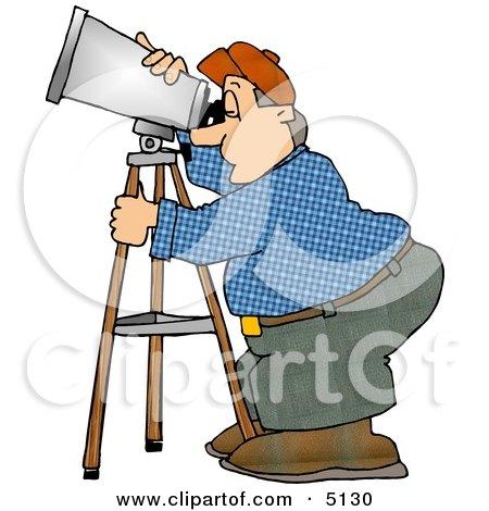 Man Looking Through a Telescope Clipart by djart