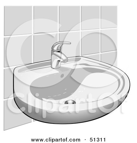 Royalty-Free (RF) Clipart Illustration of a Hand Washing Sink Against a Tile Wall by dero
