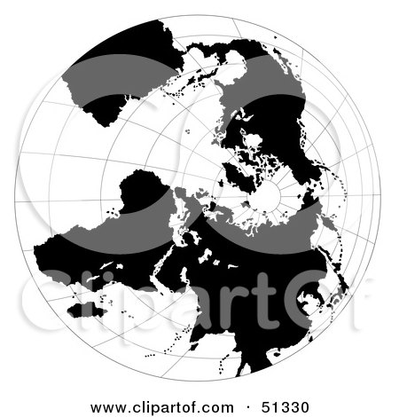 Royalty-Free (RF) Clipart Illustration of a Black and White Globe With Grids by dero