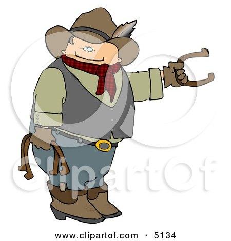 Cowboy Playing Horseshoe Game Clipart