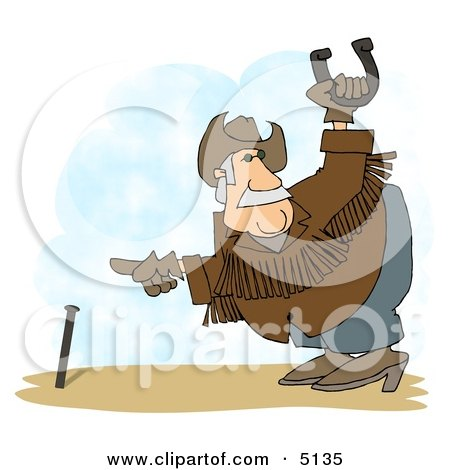 Horseshoe Player Playing Horseshoe Game Clipart