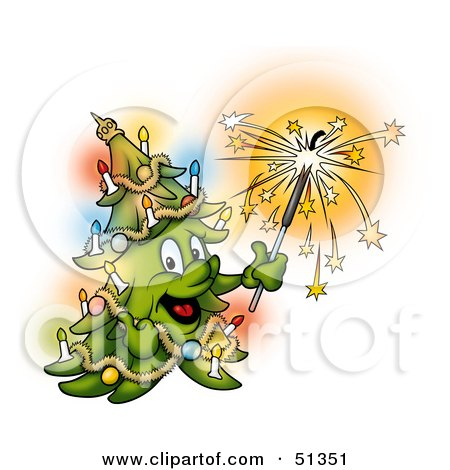 Royalty-Free (RF) Clipart Illustration of a Happy Christmas Tree Holding A Sparkler by dero