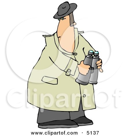 Male Spy Wearing A Trench Coat And Holding Binoculars Clipart