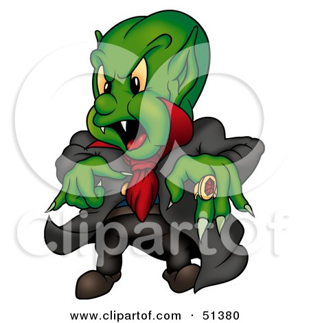 Royalty-Free (RF) Clipart Illustration of a Green Vampire by dero