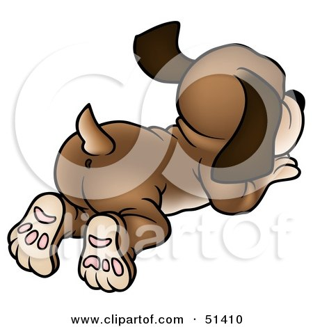 Royalty-Free (RF) Clipart Illustration of a Dog Wagging its Tail From Behind by dero