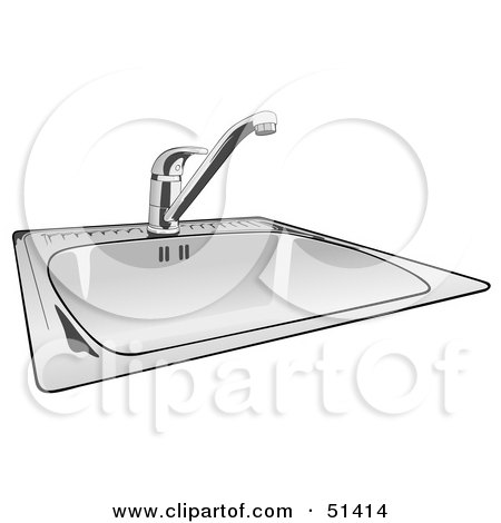 Royalty-free clipart picture of a shiny new kitchen sink,