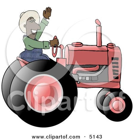 Male Ethnic Farmer Waving Hello On a Tractor Posters, Art Prints
