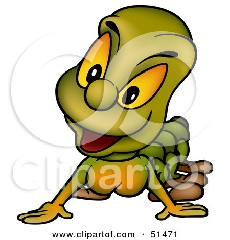 Royalty-Free (RF) Clipart Illustration of a Curious Green Caterpillar by dero