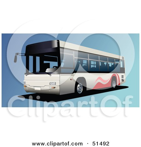 Royalty-Free (RF) Clipart Illustration of a Public Bus on Blue by leonid