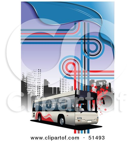 Royalty-Free (RF) Clipart Illustration of a Public Bus Driving In An Urban Setting by leonid