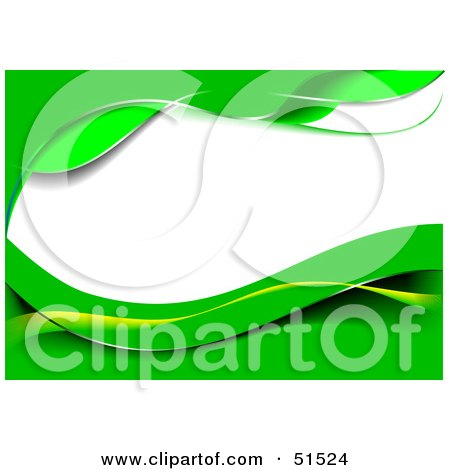 Royalty-Free (RF) Clipart Illustration of a Green Wavy Background With White Text Space by leonid