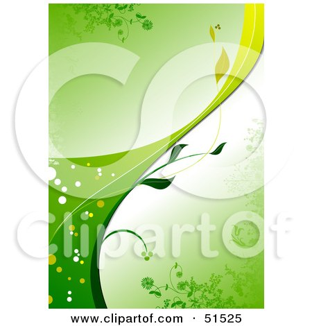 Green Organic Vine Background With The Stem Curving Upwards Posters, Art Prints