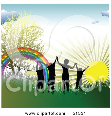 Royalty-Free (RF) Clipart Illustration of Four Silhouetted Children Holding Hands Near A Rainbow In The Grass At Sunrise by leonid
