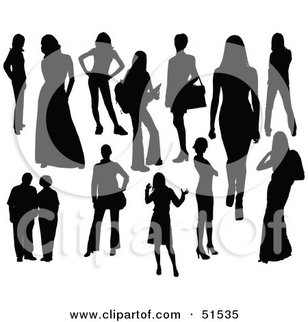 Royalty-Free (RF) Clipart Illustration of a Digital Collage Of Black Women Silhouettes by leonid
