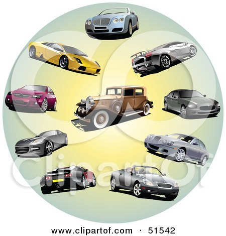 Royalty-Free (RF) Clipart Illustration of a Digital Collage Of Coupes, Classic And Sports Cars In A Circle by leonid