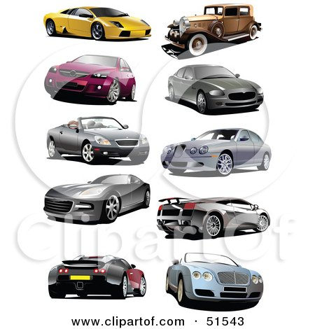digital collage of coupes vintage and sports cars royalty free