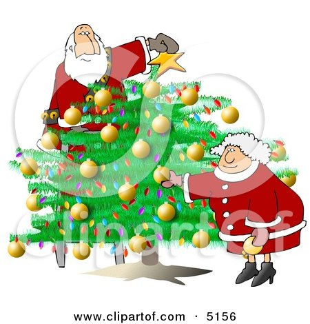 Santa & Wife Decorating Christmas Tree Clipart by djart
