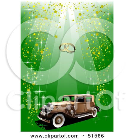 Vintage Car With Gold Confetti On Green Under Wedding Rings Posters