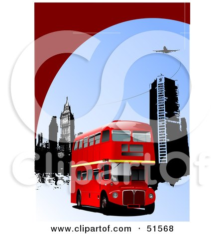 Royalty-Free (RF) Clipart Illustration of a Red Double Decker Bus Near City Buildings Under A Plane by leonid