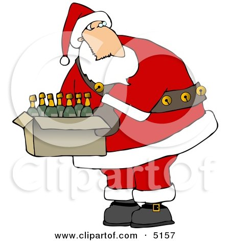 Santa Holding a Box of Wines Clipart by djart