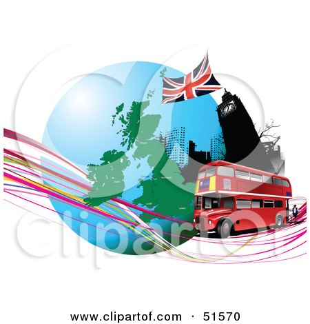 Royalty-Free (RF) Clipart Illustration of a Red Double Decker Bus Passing Big Ben, On An Urban Circle With Continents And Waves by leonid