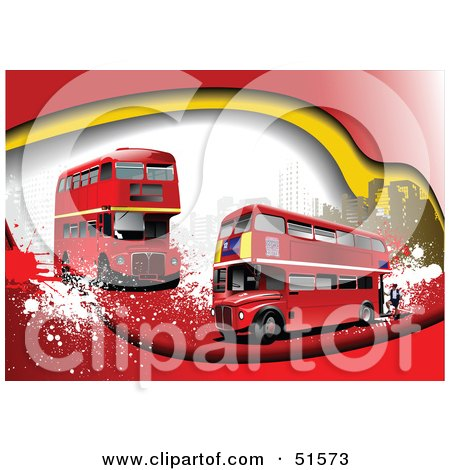 Royalty-Free (RF) Clipart Illustration of a Grungy Background With Red Double Decker Buses And Urban Buildings by leonid