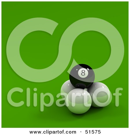 Royalty-Free (RF) Clipart Illustration of a Black Eight Ball On Top Of Three Cue Balls by stockillustrations