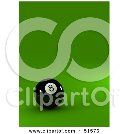 Royalty-Free (RF) Clipart Illustration of a Black Eight Ball On A Green Surface by stockillustrations