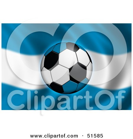 Royalty-Free (RF) Clipart Illustration of a Soccer Ball Flying In Front Of A Waving Argentina Flag by stockillustrations