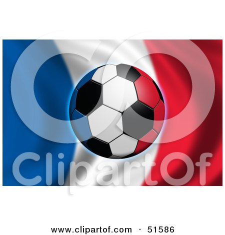 Royalty-Free (RF) Clipart Illustration of a Soccer Ball Flying In Front Of A Waving France Flag by stockillustrations