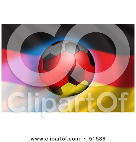 Royalty-Free (RF) Clipart Illustration of a Soccer Ball Flying In Front Of A Waving Germany Flag - Version 1 by stockillustrations