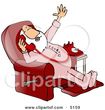 Santa Talking On a Phone While Sitting in a Reclined Chair Posters, Art Prints