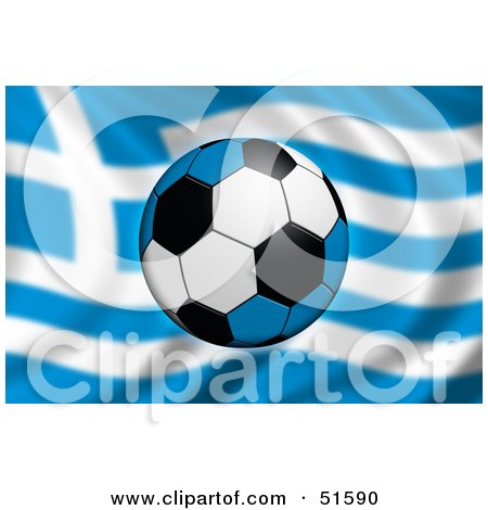 Royalty-Free (RF) Clipart Illustration of a Soccer Ball Flying In Front Of A Waving Greece Flag by stockillustrations