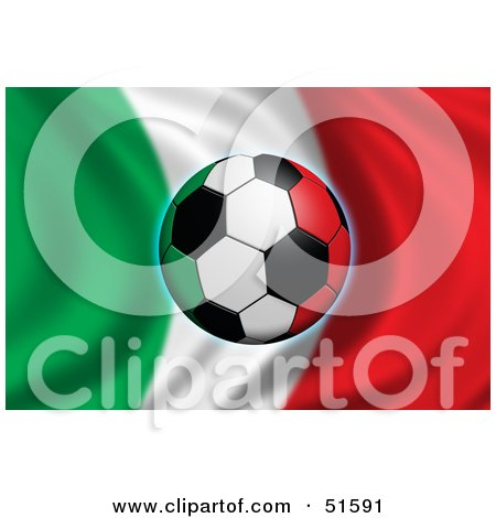 Royalty-Free (RF) Clipart Illustration of a Soccer Ball Flying In Front Of A Waving Italy Flag by stockillustrations